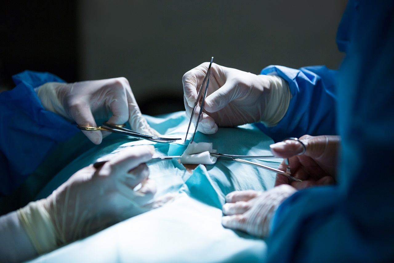 Close up of the hands of surgeons during an operation