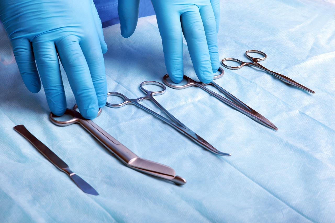 A wide shot of sterilized surgical instruments laid down on a table