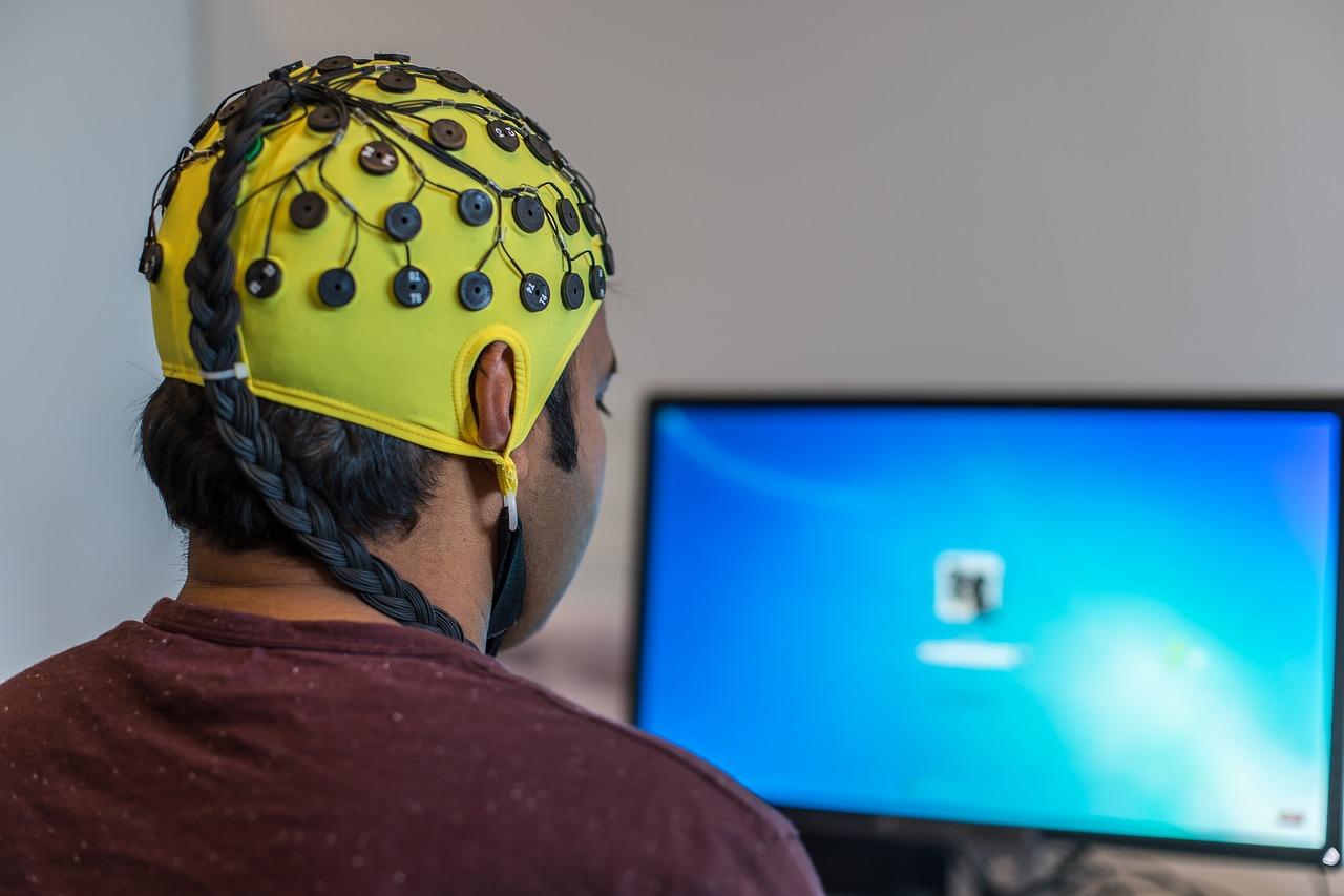 A man undergoing a digital EEG test