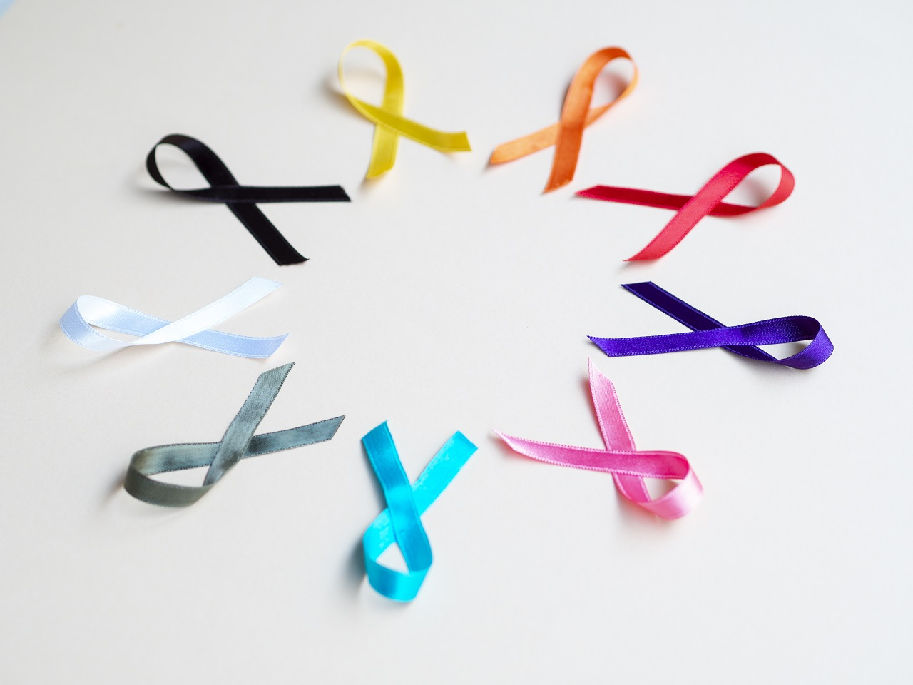 Different ribbons symbolizing the different types of cancer