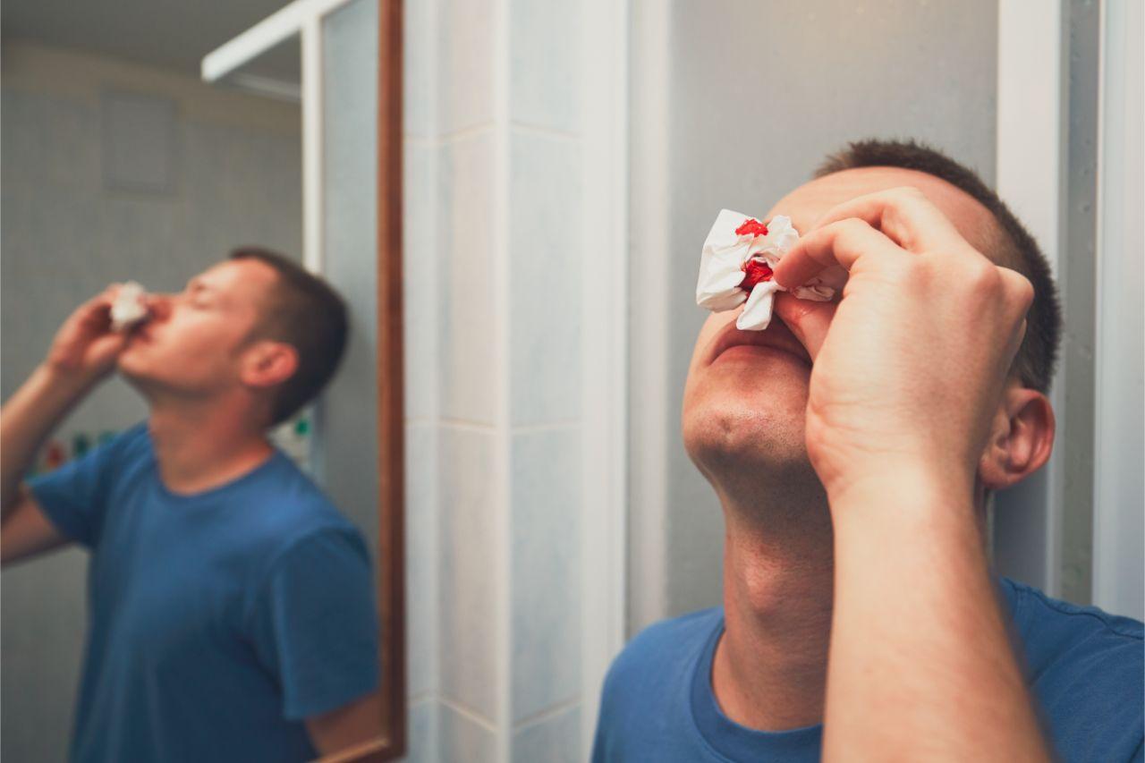 Man with bleeding nose
