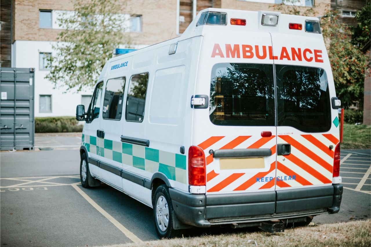 An ambulance taking a patient to the emergency room